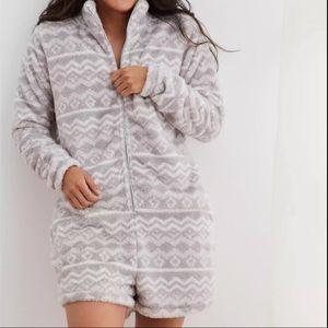 Aerie Fuzzy Fleece Shorts Romper